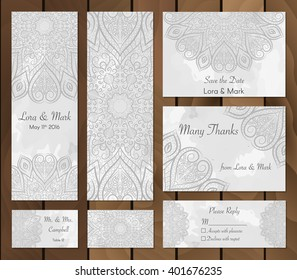 Set of watercolor background with mandalas - round doodle Indian elements. Vector template. Invitation card. Collection of ethnic cards,menu or wedding invitations with indian ornament.
