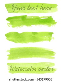 Set of watercolor backgrounds. Watercolor texture with brush strokes. Green. Isolated. Vector.
