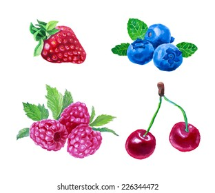 Set of watercolor berries. Strawberry, cherry, blueberry, raspberry. Hand drawn in vintage style. Vector illustration isolated on white.
