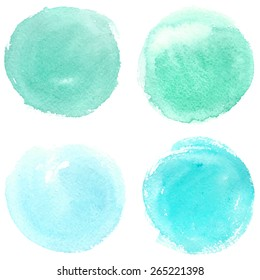 Set watercolor blobs, isolated on white background. Shape design blank watercolor colored rounded shapes web buttons on white background. Vector