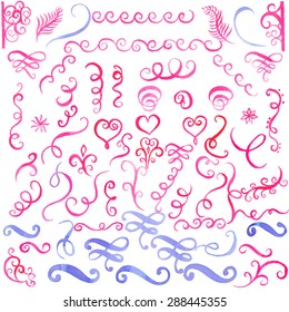 Set of watercolor border, brushes, flourishes, love decor elements set. For design templates, invitations. Hand drawn. For weddings,Valentine's day, holidays, menu, birthday. Vector EPS 10