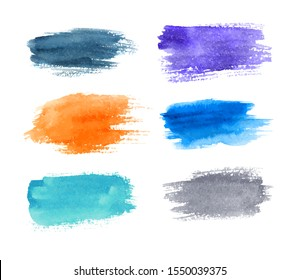 Set of watercolor brush strokes with jagged edges isolated on white background. Rectangle text boxes. Elongated shape. Vector illustration.