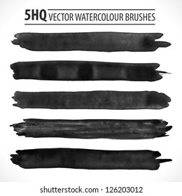 Set of watercolor brushes. Grunge brushes. Design elements. Vector brushes. Hand drawn. Grunge banners. Abstract shape. Retro background. Vintage background.