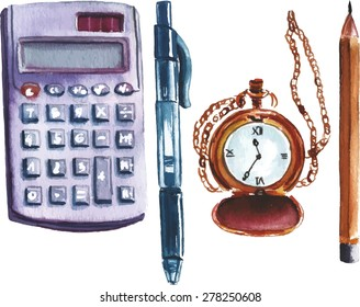 A set of watercolor business and finance objects on white background: a calculator, a pen, a chain watch, a pencil, scalable vector drawing