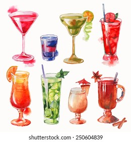 Set of watercolor cocktails