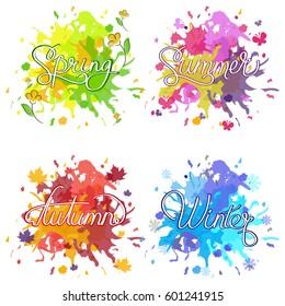 Set of watercolor colorful drops on a white background. Watercolor vector shapes, calligraphy seasons on bloat,colorful dripping backgrounds