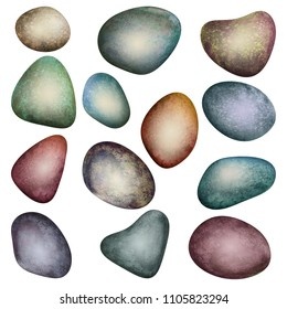 Set of watercolor colorful sea stones isolated on white background. Watercolour hand drawn abstract rocks art work illustration. Colorful abstract geometric shapes. SPA concept