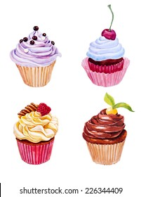 Set of watercolor cupcakes. Hand drawn on textured paper. Retro style. Vector illustration.