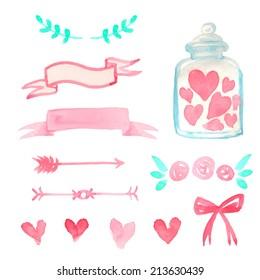 Set of watercolor design elements for Valentine Day card or wedding invitation. Vector illustration.