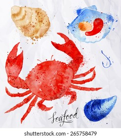 Set watercolor drawn seafood, crab, clams, mussels, oysters, shell, hook on crumpled paper