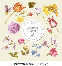 Set of Watercolor Floral Design Elements.Peonies, Roses, Narcissus, Tulip, Wildflowers in Vintage Style