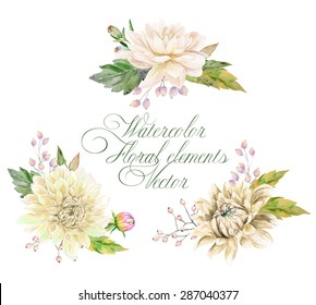 Set of watercolor floral elements for design. Vector illustration of white, beige dahlias, leaves and butterfly