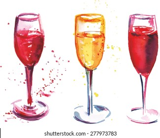 A set of watercolor flute glasses with rose and white sparkling wine, scalable vector graphic