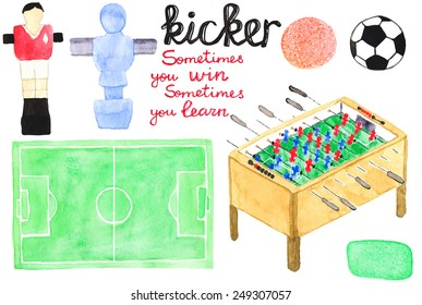Set watercolor foosball  or kicker design elements, aquarelle. Vector illustration. Hand-drawn decorative pieces useful for invitations, scrapbooking, design. Hobby and sport