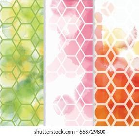 Set of watercolor geometry pattern