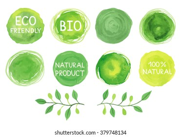 Set of watercolor green logo. Leaves, badges, branches wreath, plants elements. Hand drawn painting. Sign label,textured emblem set. Organic design template.
