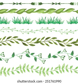 Set of watercolor  green  seamless border floral set. Hand painted branches,leaves,grass,petal decor elements.Watercolor brushes. Nature,organic items.Vector