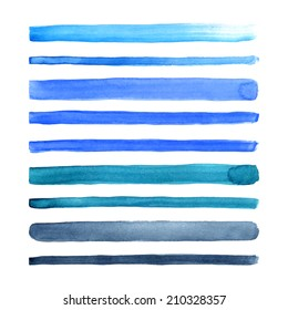 Set of watercolor hand painted stripes. Realistic vector graphics. Hand drawn watercolor elements for design. Blue abstract vector strips on the white background.