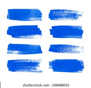 Set of watercolor hand painted stripes. Realistic vector graphics. Hand drawn watercolor elements for design. Blue abstract vector strips on the white background. Watercolor brush strokes.