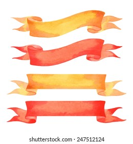 Set of watercolor isolated ribbons
