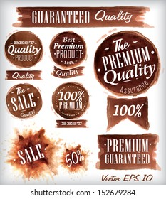 Set of watercolor old premium quality badges collection drawing with brown watercolor brush strokes.