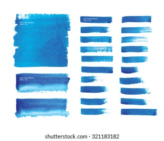 Set of watercolor painted strokes background. Vector vintage background for template and webpage design.