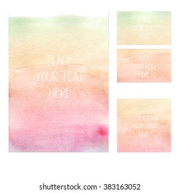 A set of watercolor print templates with a customizable text field for your own text, suitable for business cards, invitations, prints, greeting cards. Vector illustration. Hand drawn.