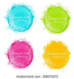 Set watercolor rainbow circle paint stains isolated on a white background. Art abstract. Frames. Space for text - vector
