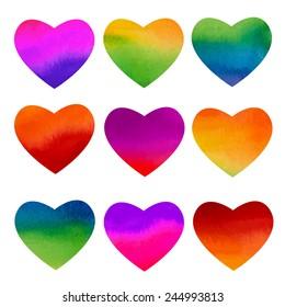 Set of watercolor rainbow hearts design. Vector illustration.