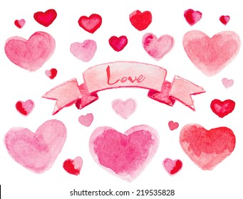 Set of watercolor red-pink little hearts with ribbon. Vector illustration.