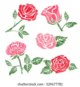 Set of watercolor rose flower design elements isolated on white. Vector floral illustration.