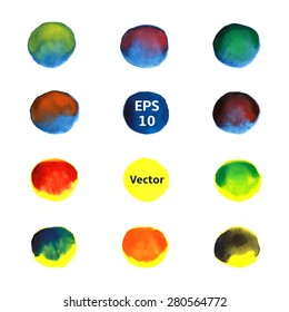 Set of watercolor round spots for text and design, mix of different colors in each circle