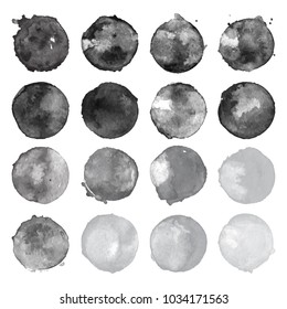 Set of watercolor shapes. Watercolors blobs. Set of colorful watercolor hand painted circle isolated on white. Illustration for artistic design. Round stains, blobs of black, gray colors