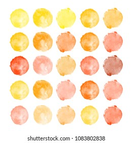 Set of watercolor shapes. Watercolors blobs. Set of colorful watercolor hand painted circles isolated on white. Illustration for artistic design. Round stains, blobs of yellow, orange colors