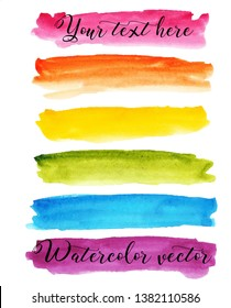 Set watercolor stain. Spots on a white background. Watercolor texture with brush strokes.  Stripes. Rainbow. Red, pink, orange, yellow, green, blue, burgundy. Isolated. Vector.