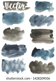 Set watercolor stain. Spots on a white background. Rectangle, spot, circle, square. Abstract. Gray, blue, brown. Round, circle, square. Watercolor texture with brush strokes. Isolated. Vector.