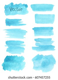 Set of watercolor stain. Spots on a white background. Watercolor texture with brush strokes. Spot, frame. Blue, turquoise. Isolated. Vector.