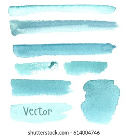 Set of watercolor stain. Spots on a white background. Watercolor texture with brush strokes. Strip, stain. Blue, turquoise. Isolated. Vector.