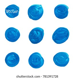 Set of watercolor stain. Spots on a white background. Watercolor texture with brush strokes. Circle. Blue. Isolated. Vector.