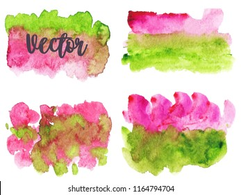 Set of watercolor stains. Spots on a white background. Abstract spots. Watermelon. Green, pink. Gradient, ombre. Isolated. Vector.