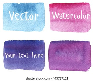 Set of watercolor stains. Spots on a white background. Rectangle. Blue, turquoise, pink, purple. Vector.