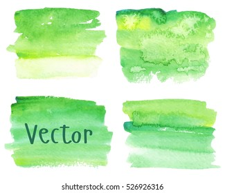Set of watercolor stains. Spots on a white background. Gradient. Abstract spots. Green, yellow. Isolated spots. Vector.