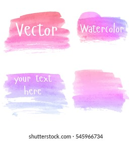 Set of watercolor stains. Spots on a white background. Watercolor backgrounds. Watercolor texture with brush strokes. Pink, red, purple. Gradient. Isolated. Vector.