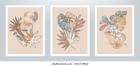 Set of watercolor texture tropical leaves posters. Abstract nature illustration with textured abstract leaves.
