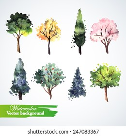 Set of watercolor trees.  Hand painting. Watercolor.  Illustration for greeting cards, invitations, and other printing projects.