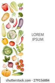 Set of watercolor vegetables.Template for your design. Vector illustration.
