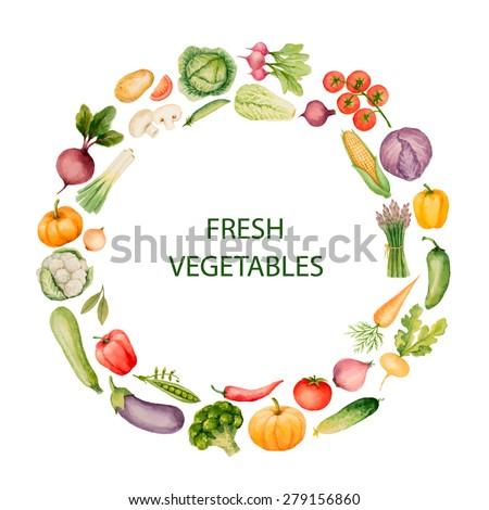 set watercolor vegetables template your design vector stock vector