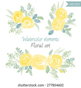 A set of watercolor yellow roses flowers and leaf. Vector collection with leaves and flowers, hand drawing. Can be used for design for invitation, wedding or greeting cards