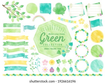 Set of watercolored seasonal frames Spring, Early Summer, Green leaves, flowers, nature For Labels, Badges, Icons, Banners etc.