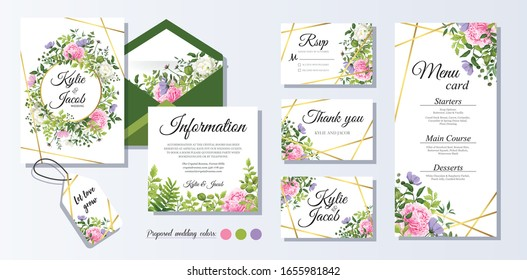 Set watercolour wedding vector template with flower, leaves, gold and line decoration Floral invitation card, menu, thank you Wild flowers and peony and rose flower. Beautiful greenery plants